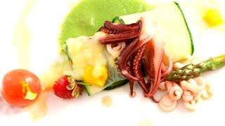 Canelón de verdura con porrusalda y tallarines de chipirón Foto propiedad de Telemadrid